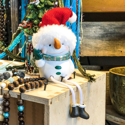 Buy Fur Boot Snowman Shelf Sitter from Walking Pants Curiosities, the Most un-General Gift Store in Downtown Memphis, Tennessee!