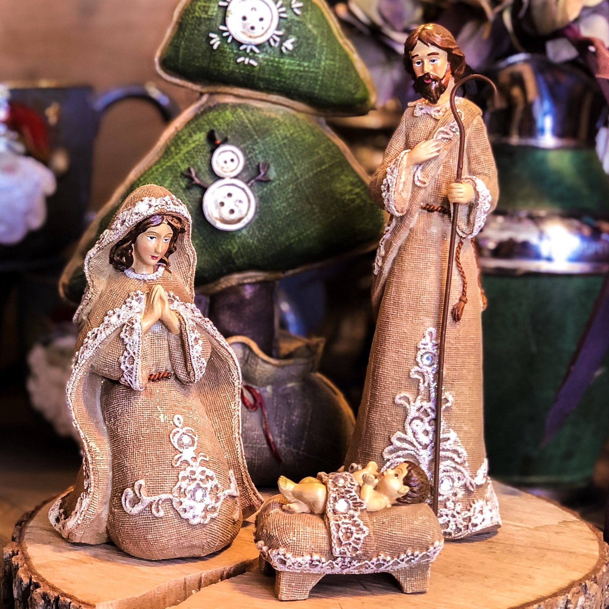 Buy 3 Piece Christmas Nativity in Burlap from Walking Pants Curiosities, the Most un-General Gift Store in Downtown Memphis, Tennessee!