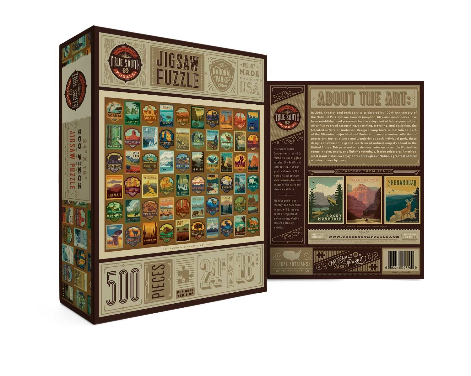 Buy National Parks Badges, 500 Piece Jigsaw Puzzle from Walking Pants Curiosities, the Most un-General Gift Store in Downtown Memphis, Tennessee!