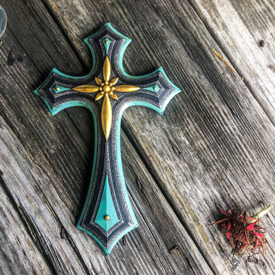 Buy Turquoise Silver Gold Decorative Wall Cross from Walking Pants Curiosities, the Most un-General Gift Store in Downtown Memphis, Tennessee!