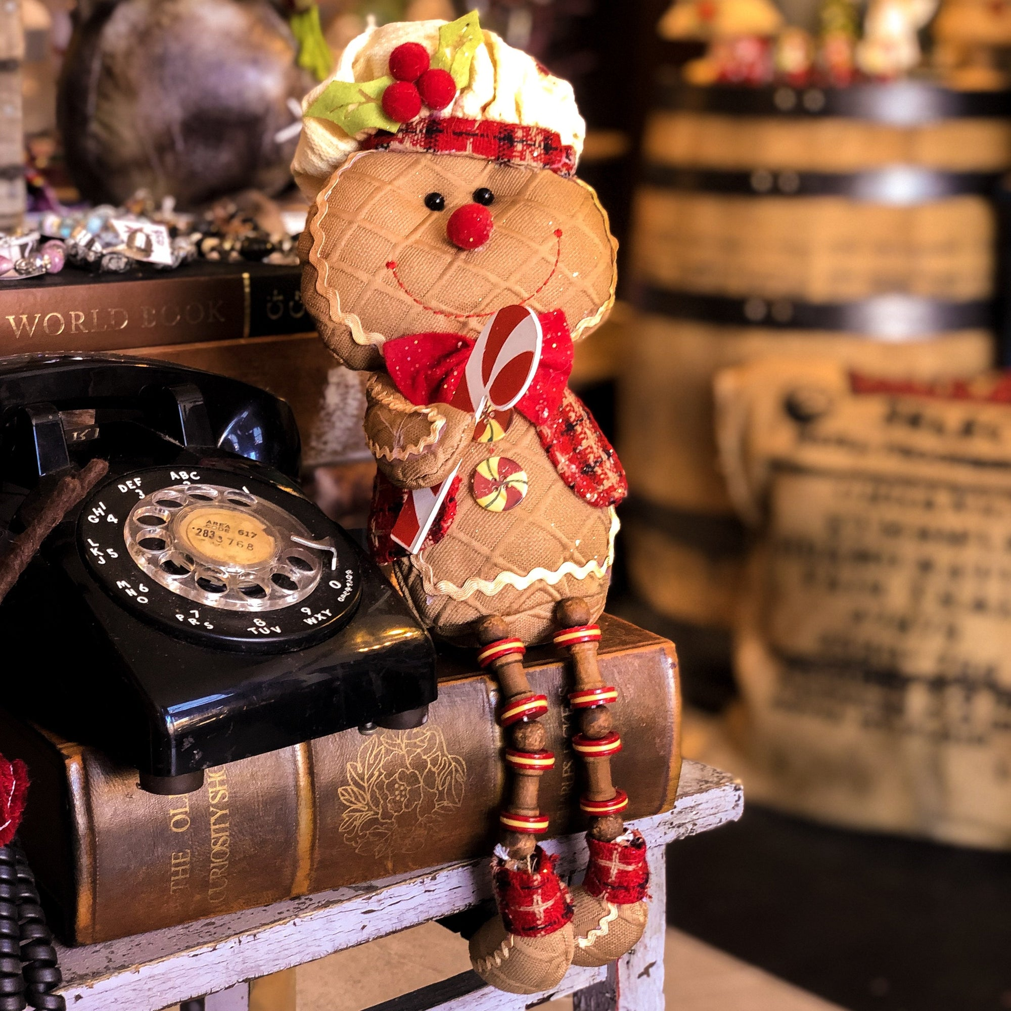 Buy Glitter the Gingerbread Shelf Sitter from Walking Pants Curiosities, the Most un-General Gift Store in Downtown Memphis, Tennessee!