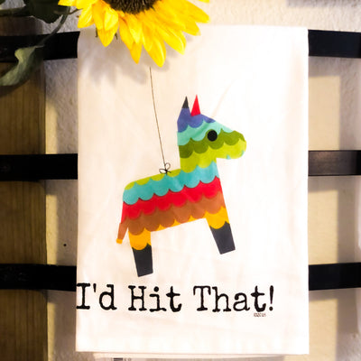 Buy I'd Hit That Piñata Flour Sack Kitchen Towel from Walking Pants Curiosities, the Most un-General Gift Store in Downtown Memphis, Tennessee!