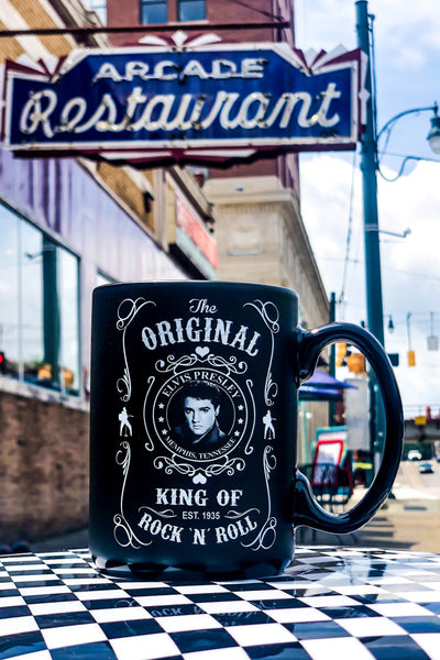 Buy Elvis Presley Black and White Coffee Mug from Walking Pants Curiosities, the Most un-General Gift Store in Downtown Memphis, Tennessee!