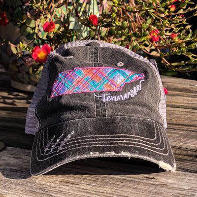 Buy Distressed Colorful Plaid Tennessee Hat from Walking Pants Curiosities, the Most un-General Gift Store in Downtown Memphis, Tennessee!