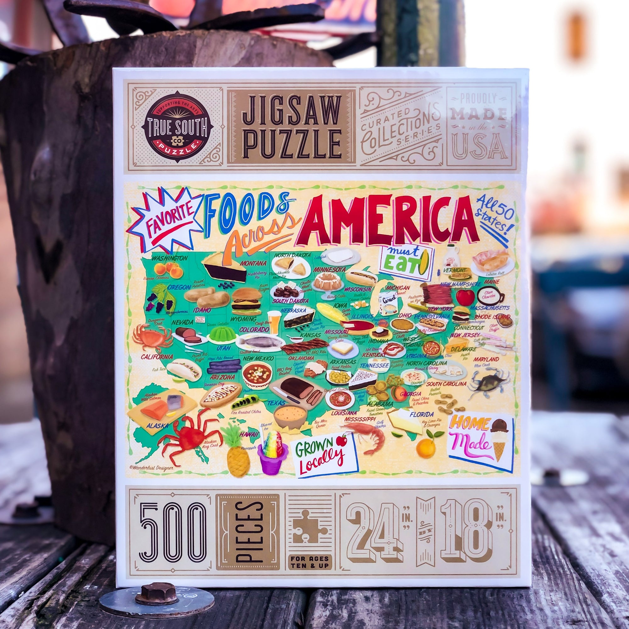 Buy Favorite Foods Across America, 500 Piece Jigsaw Puzzle from Walking Pants Curiosities, the Most un-General Gift Store in Downtown Memphis, Tennessee!