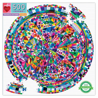 Buy Triangle Pattern 500 Piece Round Jigsaw Puzzle from Walking Pants Curiosities, the Most un-General Gift Store in Downtown Memphis, Tennessee!