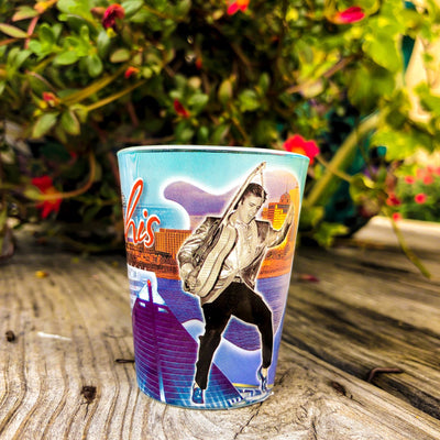 Buy Elvis Presley's Memphis Souvenir Shot Glass from Walking Pants Curiosities, the Most un-General Gift Store in Downtown Memphis, Tennessee!