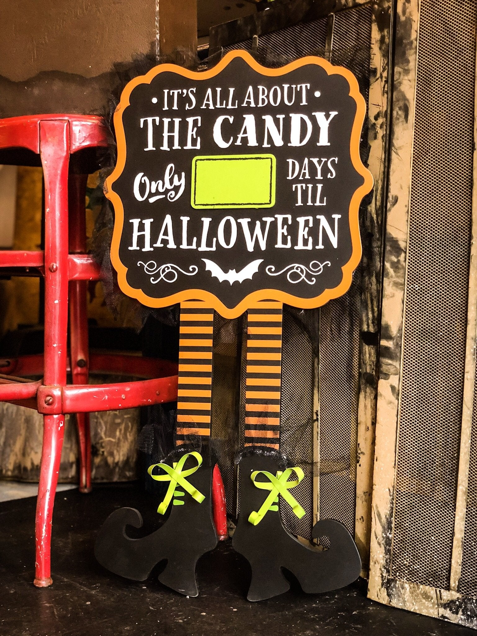 All About The Candy Countdown to Halloween Sign - Walking Pants Curiosities