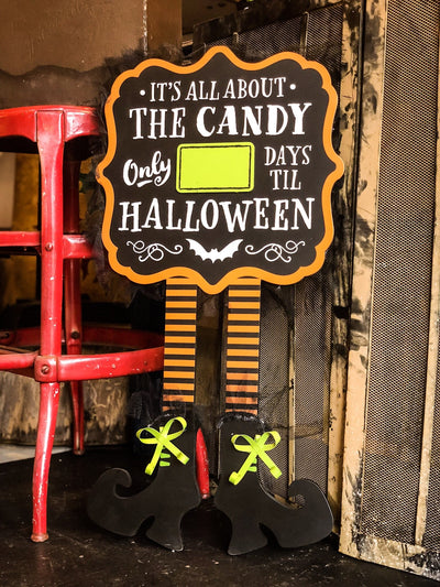 Buy All About The Candy Countdown to Halloween Sign from Walking Pants Curiosities, the Most un-General Gift Store in Downtown Memphis, Tennessee!
