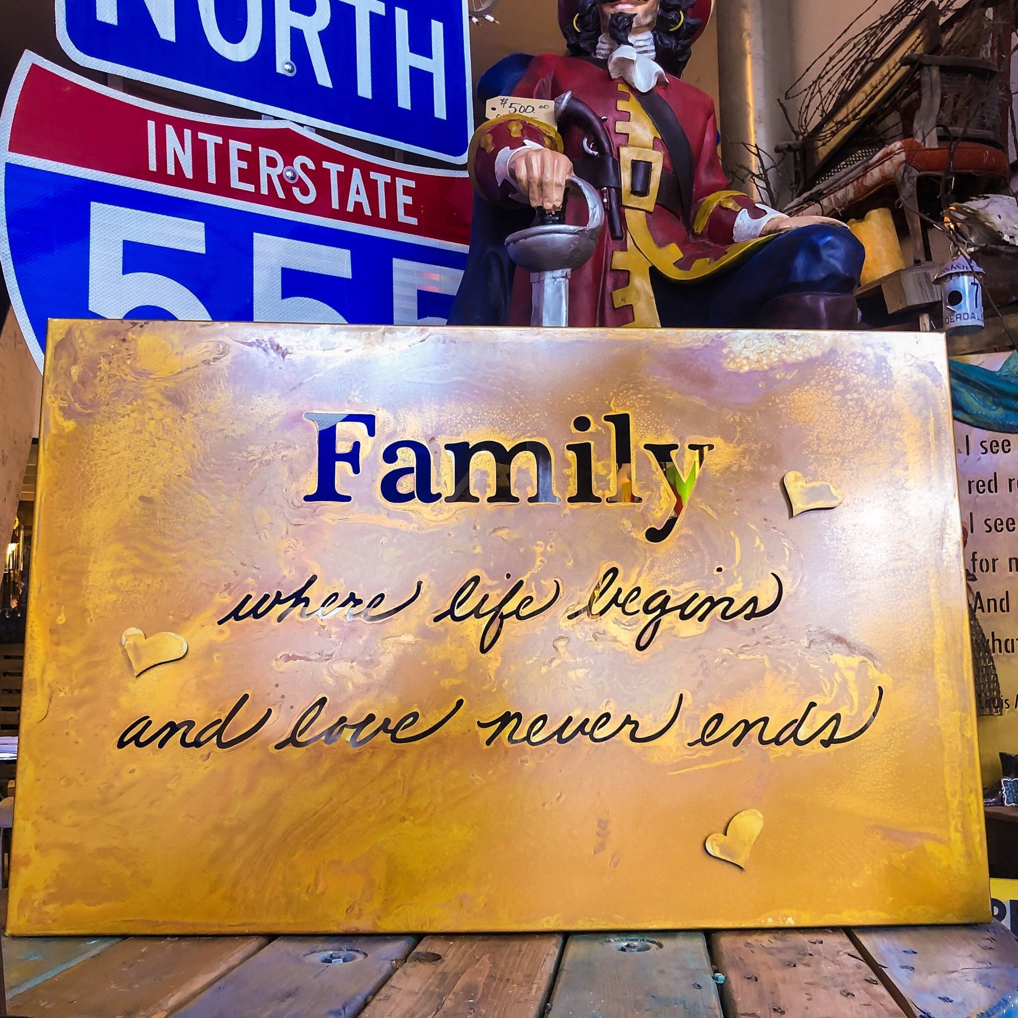Buy Family Quote Metal Wall Decor from Walking Pants Curiosities, the Most un-General Gift Store in Downtown Memphis, Tennessee!