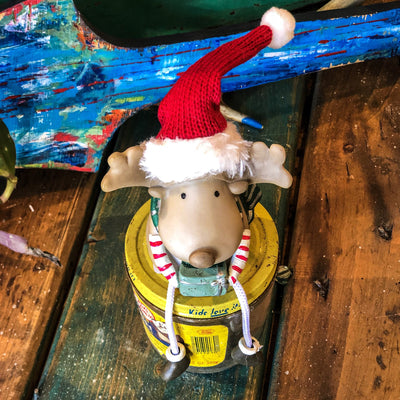 Buy Edward the Christmas Lovin' Fur Boot Reindeer Shelf Sitter from Walking Pants Curiosities, the Most un-General Gift Store in Downtown Memphis, Tennessee!