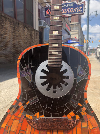 Harley Davidson Upcycled Stained Glass Guitar