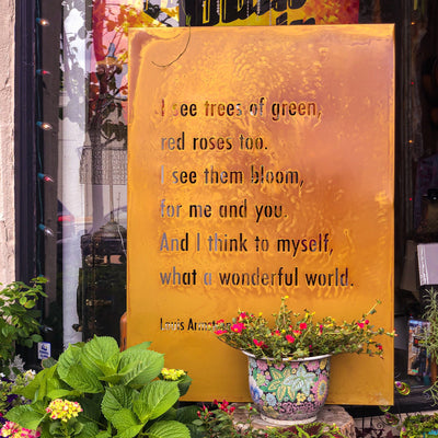 Buy It's A Wonderful World Lyrics by Louis Armstrong Metal Wall Art from Walking Pants Curiosities, the Most un-General Gift Store in Downtown Memphis, Tennessee!