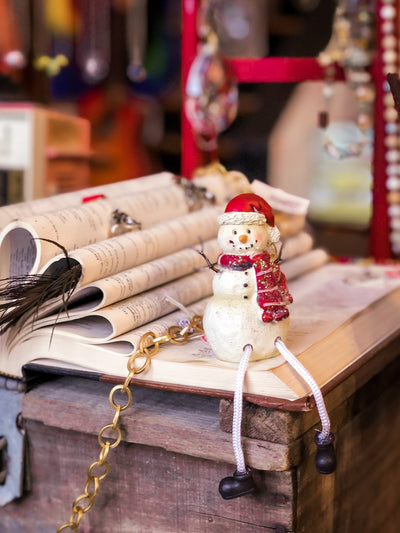 Buy Snowman With Santa Hat Shelf Sitter from Walking Pants Curiosities, the Most un-General Gift Store in Downtown Memphis, Tennessee!