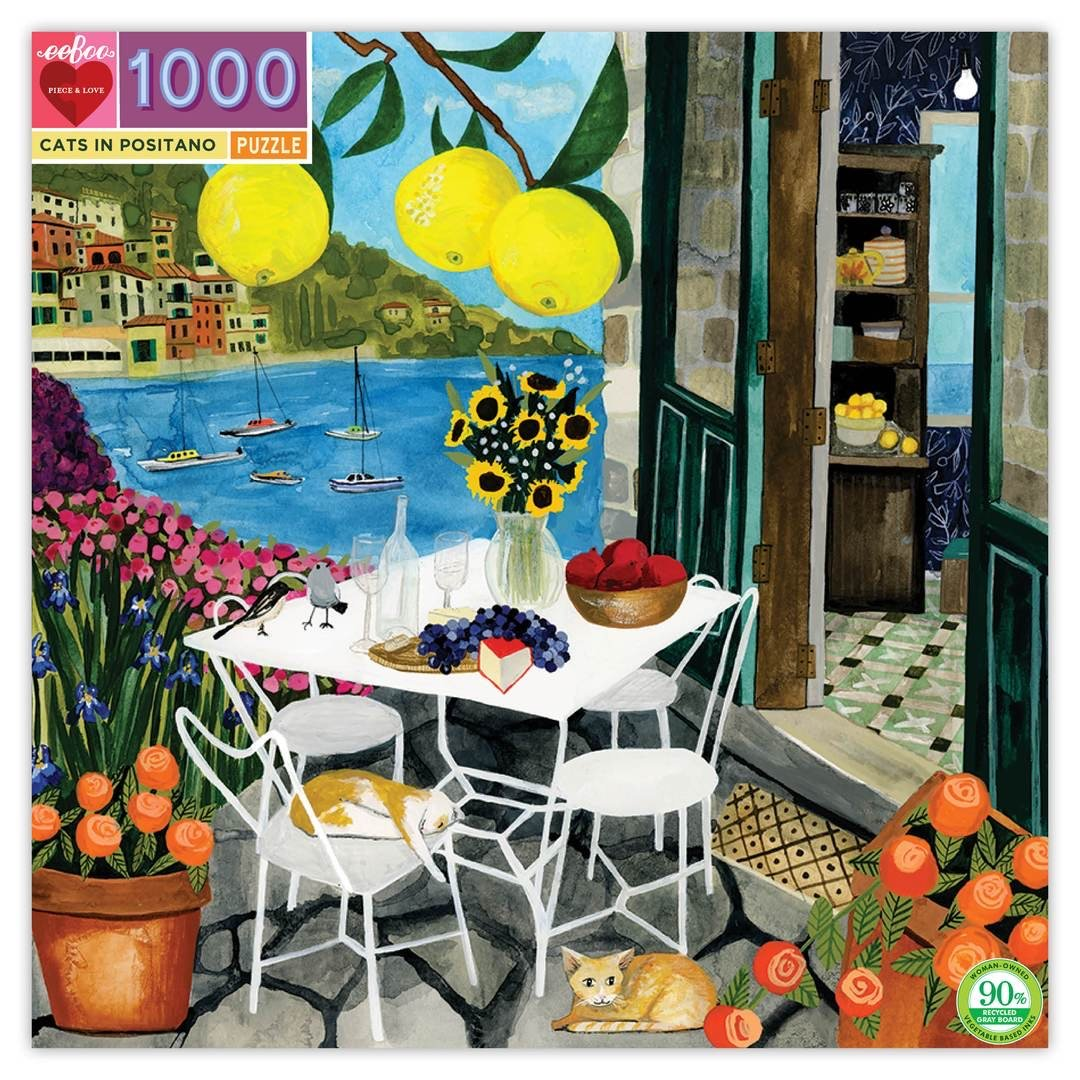 Buy Cats in Positano 1000 Piece Jigsaw Puzzle from Walking Pants Curiosities, the Most un-General Gift Store in Downtown Memphis, Tennessee!