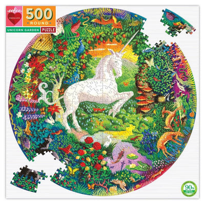 Buy Unicorn Garden 500 Piece Round Jigsaw Puzzle from Walking Pants Curiosities, the Most un-General Gift Store in Downtown Memphis, Tennessee!