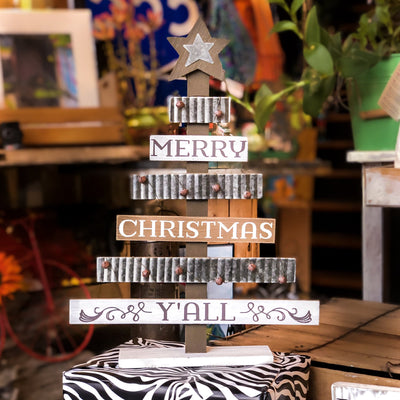 Buy Rustic Wood and Tin Southern Merry Christmas Y'all Tree from Walking Pants Curiosities, the Most un-General Gift Store in Downtown Memphis, Tennessee!