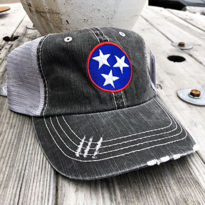 Buy Tri-Star Tennessee Women's Trucker Hat from Walking Pants Curiosities, the Most un-General Gift Store in Downtown Memphis, Tennessee!