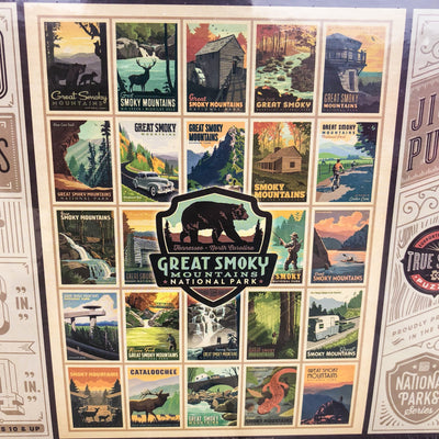 Buy Great Smoky Mountains Multi-Patch, National Park Series, 500 Piece Jigsaw Puzzle from Walking Pants Curiosities, the Most un-General Gift Store in Downtown Memphis, Tennessee!
