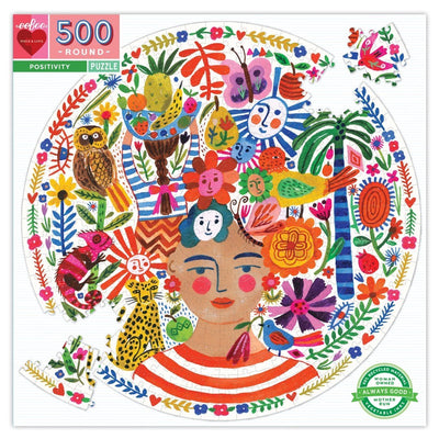 Buy Positivity 500 Piece Round Jigsaw Puzzle from Walking Pants Curiosities, the Most un-General Gift Store in Downtown Memphis, Tennessee!