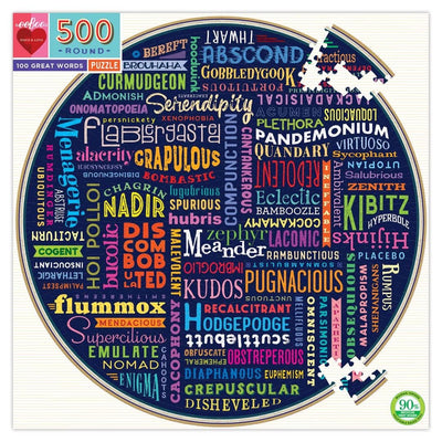 Buy BACK ORDER 100 Great Words 500 Piece Round Jigsaw Puzzle from Walking Pants Curiosities, the Most un-General Gift Store in Downtown Memphis, Tennessee!