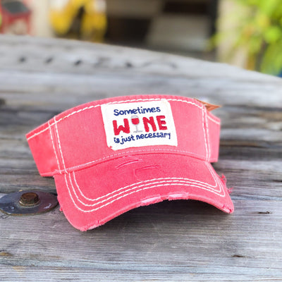 Buy Sometimes Wine Is Necessary Vintage Women's Visor Hat from Walking Pants Curiosities, the Most un-General Gift Store in Downtown Memphis, Tennessee!