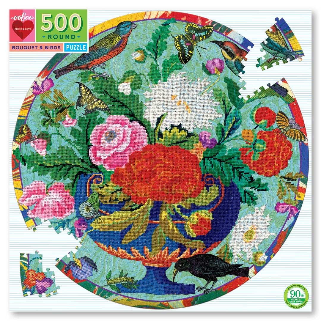 Buy Bouquet & Birds 500 Piece Round Jigsaw Puzzle from Walking Pants Curiosities, the Most un-General Gift Store in Downtown Memphis, Tennessee!
