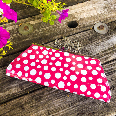 Buy Neiman Marcus Pink and White Polka Dot Purse from Walking Pants Curiosities, the Most un-General Gift Store in Downtown Memphis, Tennessee!