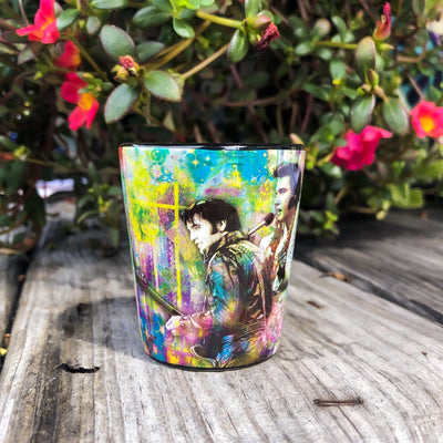 Buy Colorful Elvis Presley Collage Souvenir Shot Glass from Walking Pants Curiosities, the Most un-General Gift Store in Downtown Memphis, Tennessee!