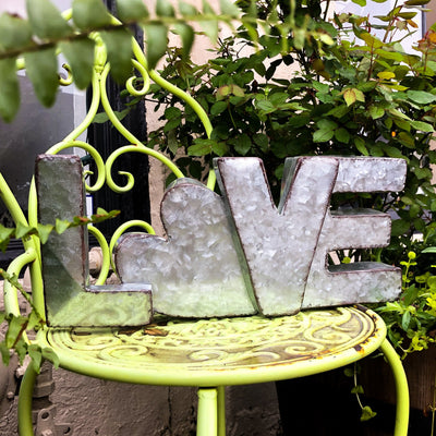 Buy Metal Love Word Block Home Decor from Walking Pants Curiosities, the Most un-General Gift Store in Downtown Memphis, Tennessee!