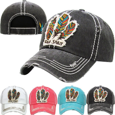 "Buy Triple Feather ""Free Spirit"" Patch Embroidery Cap from Walking Pants Curiosities, the Most un-General Gift Store in Downtown Memphis, Tennessee!"