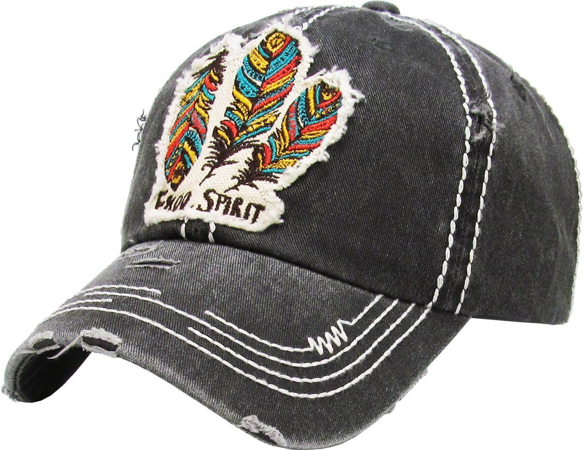 Triple Feather Free Spirit Patch Embroidery Cap Walking Pants