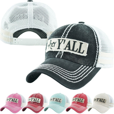 Buy Hey Y'all Mesh Women's Vintage Hat from Walking Pants Curiosities, the Most un-General Gift Store in Downtown Memphis, Tennessee!