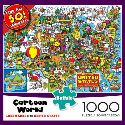 Buy Cartoon Landmarks of the United States 1000 Piece Jigsaw Puzzle from Walking Pants Curiosities, the Most un-General Gift Store in Downtown Memphis, Tennessee!