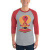Buy Alien UFO Yoga Mediation 3/4 sleeve Raglan Shirt, a T-Shirt from Walking Pants Curiosities, the Best Gift Store in Downtown Memphis, Tennessee!