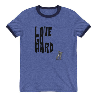 Buy The Love Go Hard Ringer T-Shirt from Walking Pants Curiosities, the Most un-General Gift Store in Downtown Memphis, Tennessee!