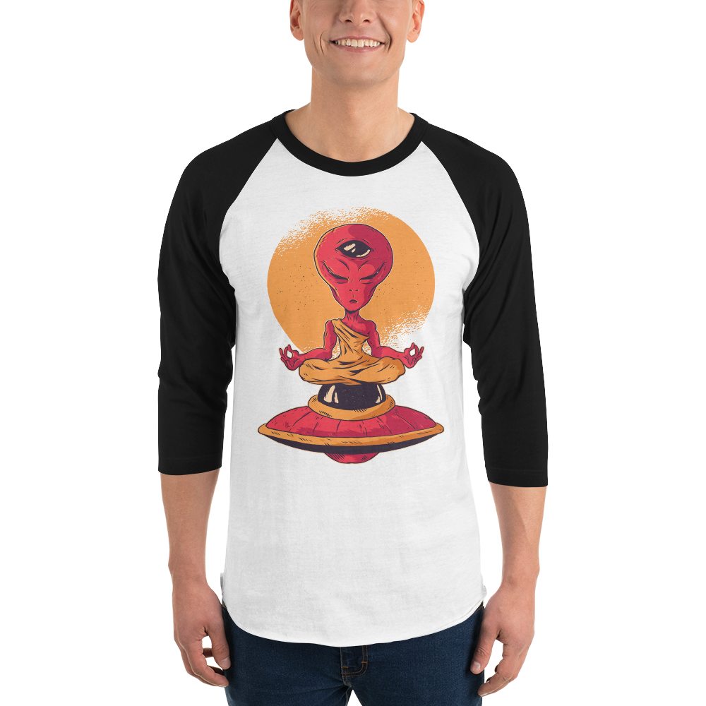 Alien UFO Yoga Mediation 3/4 sleeve Raglan Shirt - Walking Pants Curiosities