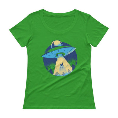 Buy Alien Abduction UFO Joyride Ladies' Scoopneck T-Shirt from Walking Pants Curiosities, the Most un-General Gift Store in Downtown Memphis, Tennessee!