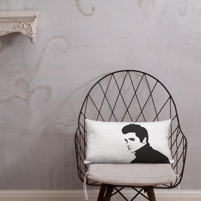 Buy Retro Elvis 20x12 Throw Pillow from Walking Pants Curiosities, the Most un-General Gift Store in Downtown Memphis, Tennessee!
