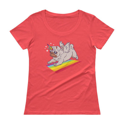 Buy Unicorn Pug and Rainbow Lovers Ladies' Scoopneck T-Shirt from Walking Pants Curiosities, the Most un-General Gift Store in Downtown Memphis, Tennessee!