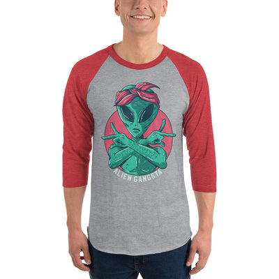 Buy Alien Gangsta 3/4 Sleeve Raglan T-Shirt, a T-Shirt from Walking Pants Curiosities, the Best Gift Store in Downtown Memphis, Tennessee!
