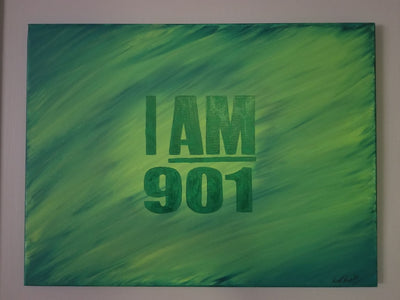 Buy I AM 901, Hand Painted in Greens from Walking Pants Curiosities, the Most un-General Gift Store in Downtown Memphis, Tennessee!
