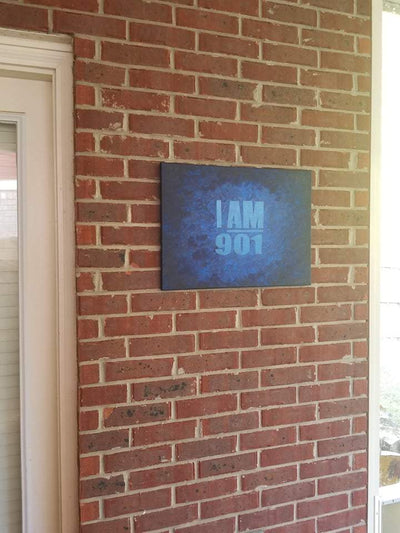 "Buy ""I AM 901"" in Shades of Blue, a Wall Art from Walking Pants Curiosities, the Best Gift Store in Downtown Memphis, Tennessee!"