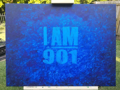 Buy I AM 901 in Shades of Blue, Wall Art from Walking Pants Curiosities, the Most un-General Gift Store in Downtown Memphis, Tennessee!