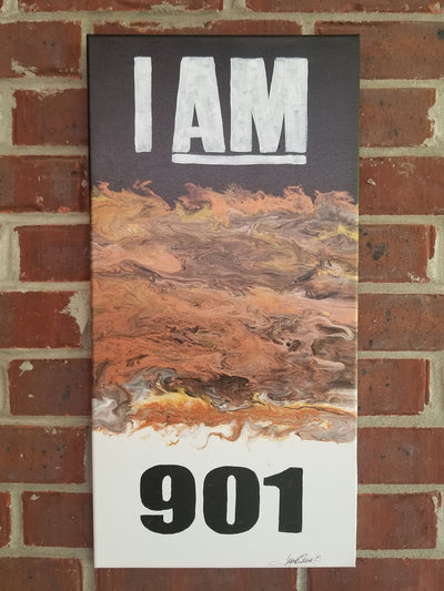 "Buy ""I AM 901"" Memphis Flow Abstract Wall Art, a Wall Art from Walking Pants Curiosities, the Best Gift Store in Downtown Memphis, Tennessee!"