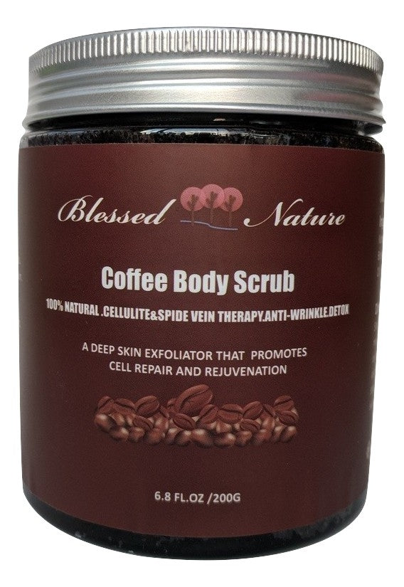 Coffee Body Scrub with Dead Sea Salt Deep Skin Exfoliator (FREE plus shipping offer!) Blessed Nature