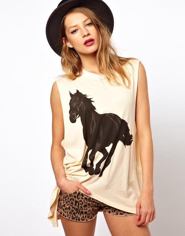 Cotton Tee Horse Printed Ladies Casual Fashion - FREE Shipping