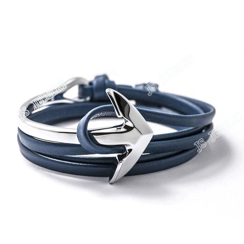 Fashion Silver Half Bend Anchor Leather Bracelet Multilayer