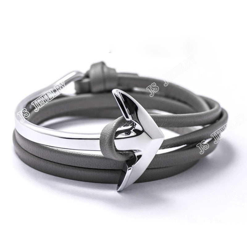 Fashion Silver Half Bend Anchor Leather Bracelet Multilayer - FREE + Shipping