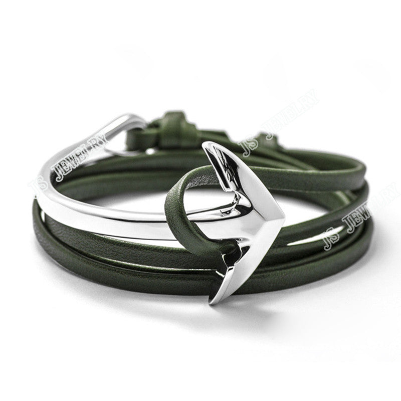 Fashion Silver Half Bend Anchor Leather Bracelet Multilayer - FREE + Shipping - Mercazone